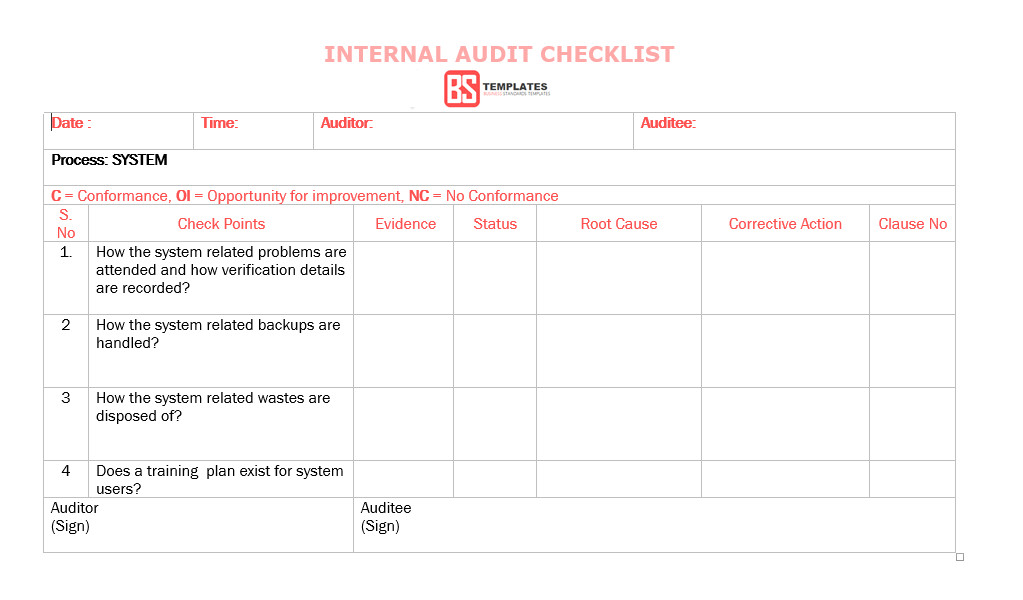 Internal Audit Checklist Template Excel 15 Internal Audit Checklist Templates Samples Examples