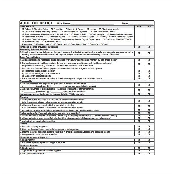 Internal Audit Checklist Template Excel 16 Audit Checklist Templates Pdf Word Excel Pages
