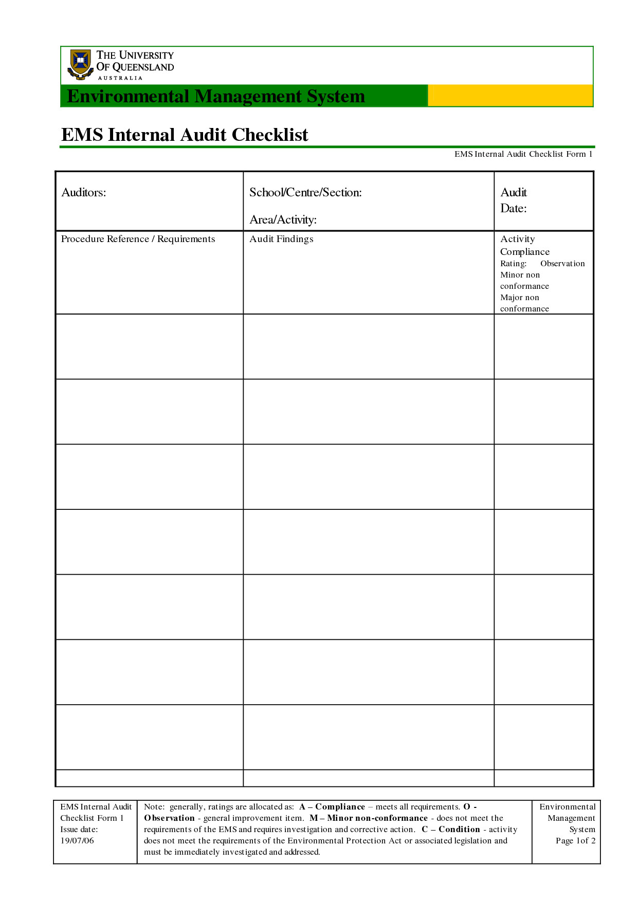 Internal Audit Checklist Template Excel 35 Excellent Audit Report form Template Examples Thogati