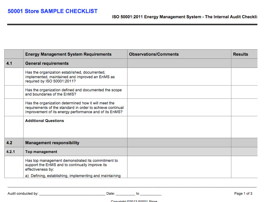 Internal Audit Checklist Template Excel iso Internal Auditor Checklist Store