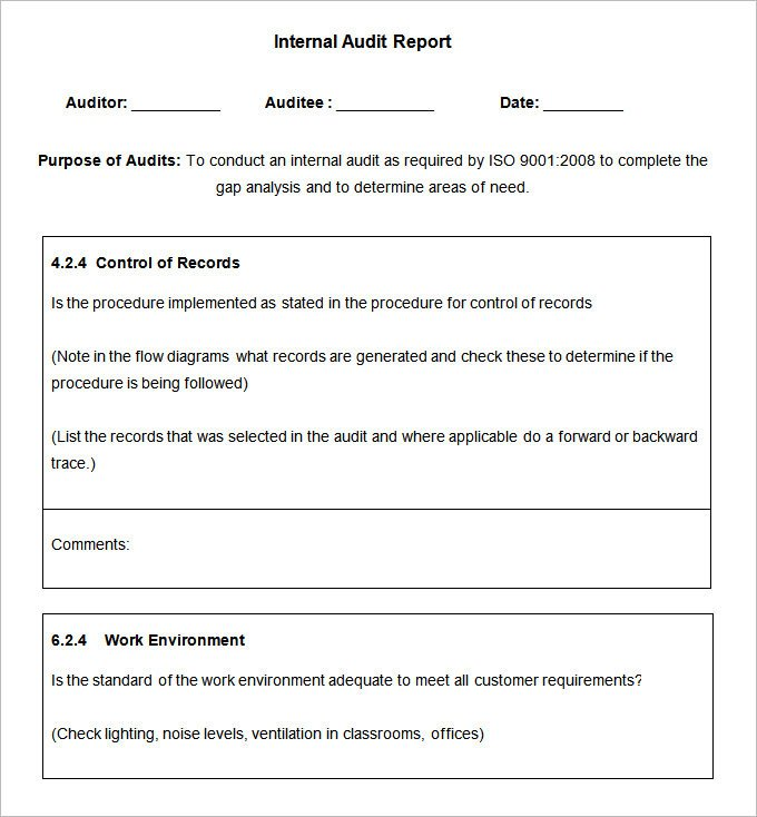 Internal Audit Report Samples 19 Internal Audit Report Templates Free Sample Example