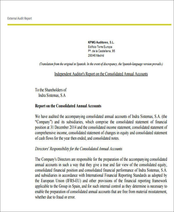 Internal Audit Report Samples 7 Sample External Audit Reports Docs Ms Word Page7