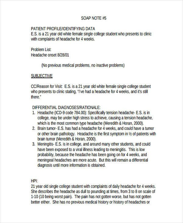 Internal Medicine soap Note Template 19 soap Note Examples Pdf