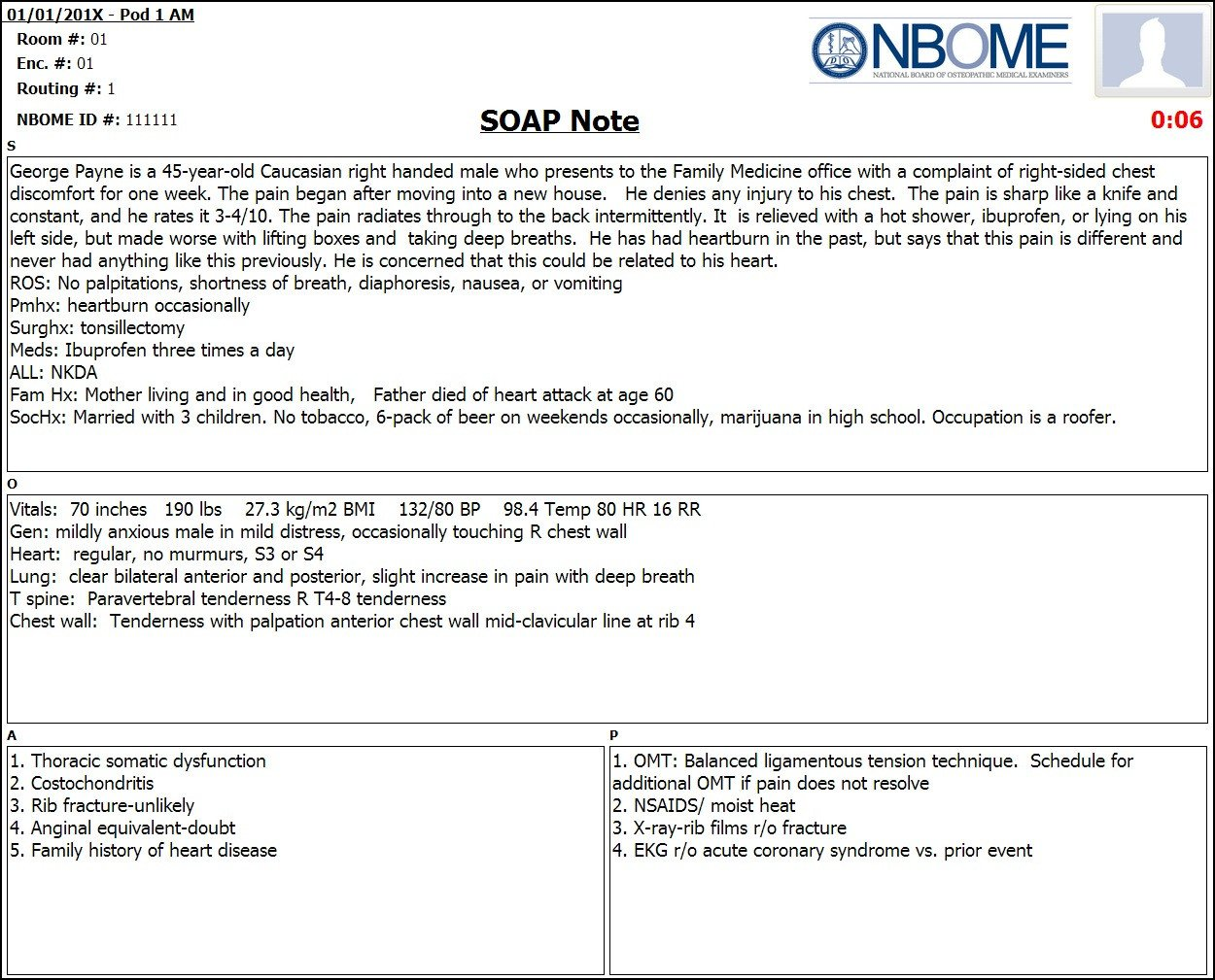 Internal Medicine soap Note Template Pleted Esoap Note Sample — Nbome