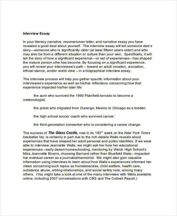 Interview Essay Examples Free 6 Interview Essay Examples & Samples Pdf Doc