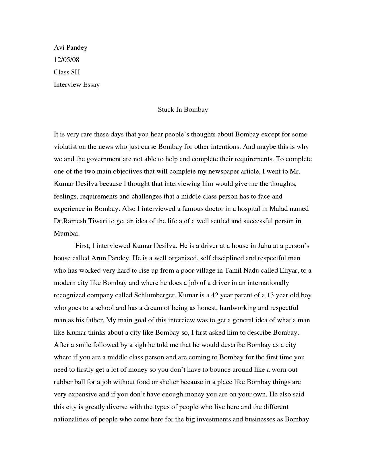 Interview Essay Examples Free Best S Of Essay Examples Interview Questions