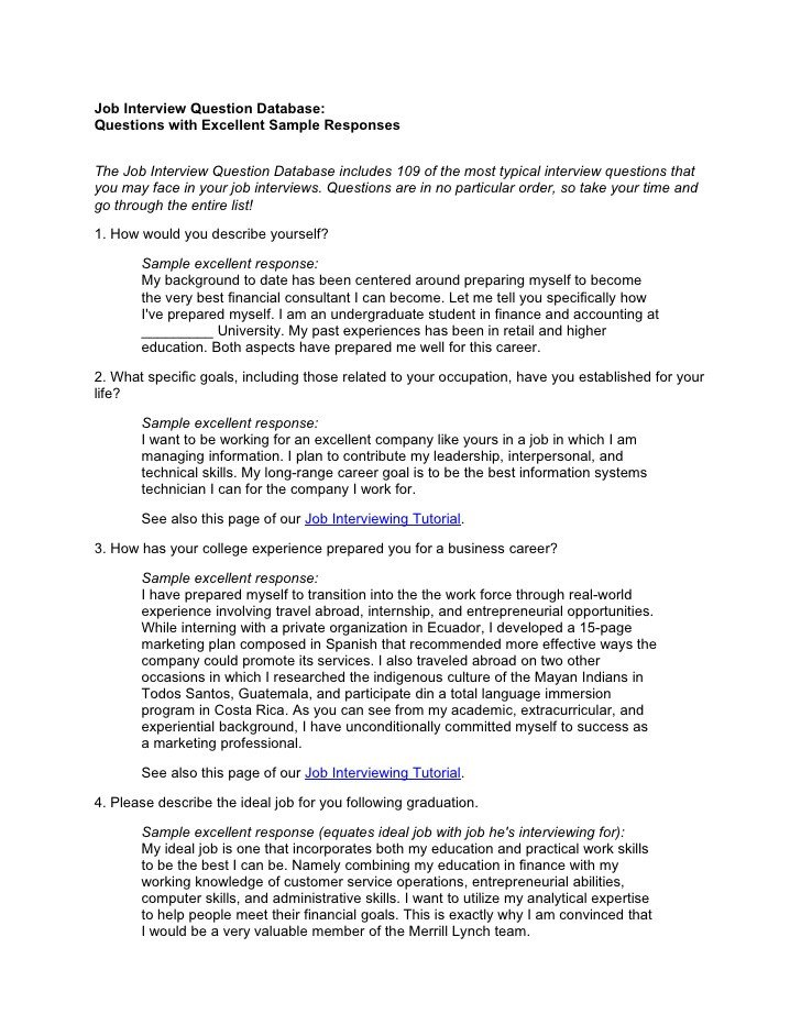 Interview Essay Examples Free Job Interview Question Database with Answers
