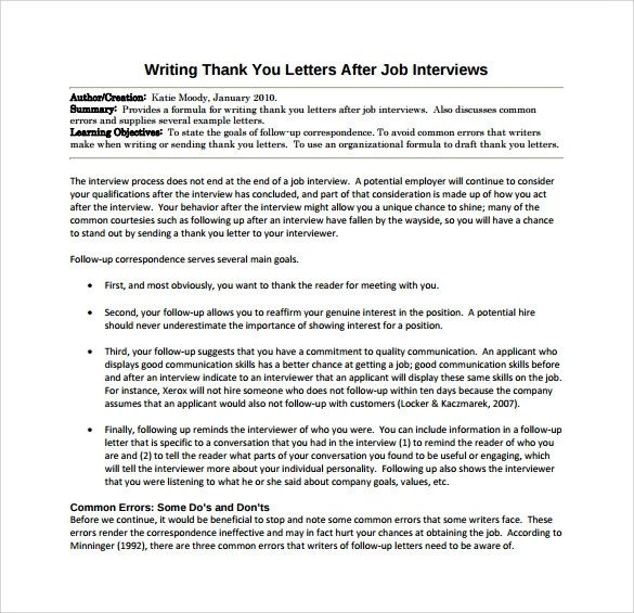 Interview Essay Examples Free Thank You Letter after Job Interview 15 Download Free