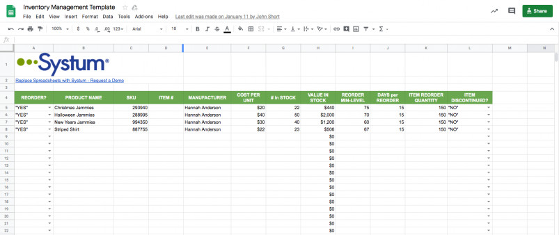 Inventory Template Google Sheets Google Sheets Inventory Template & Management System