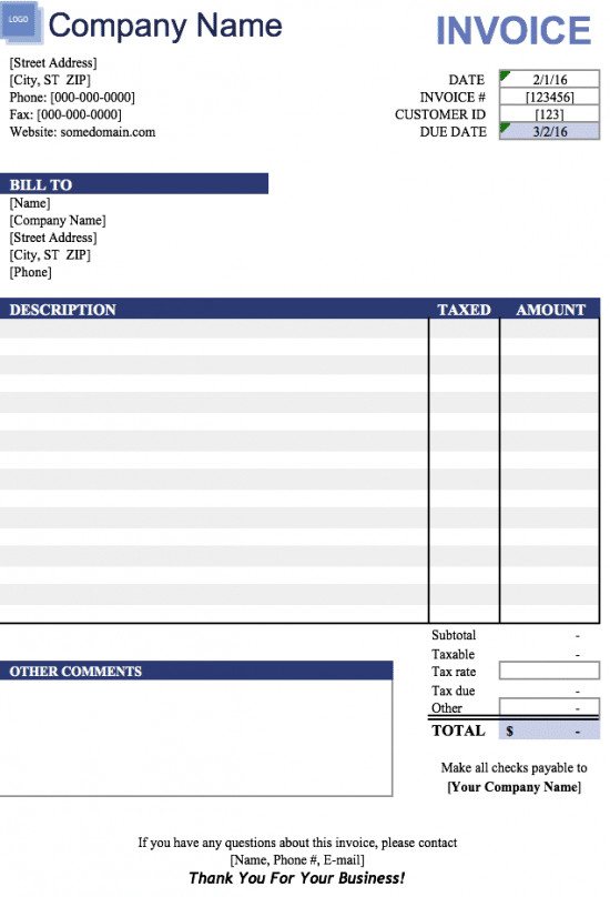 Invoice Template for Excel Free Free Blank Invoice Templates In Microsoft Excel Xlsx