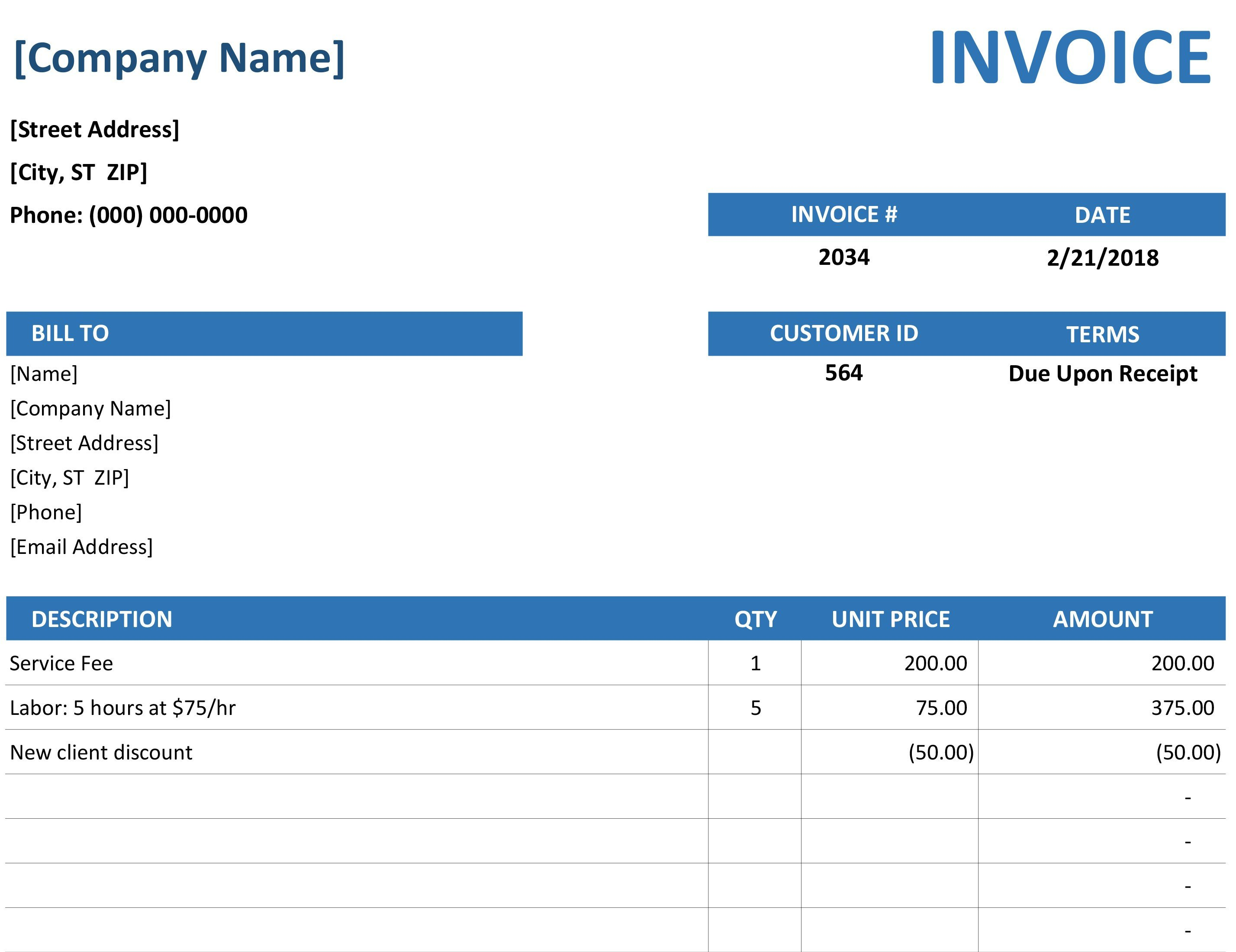 Invoice Template for Excel Invoices Fice