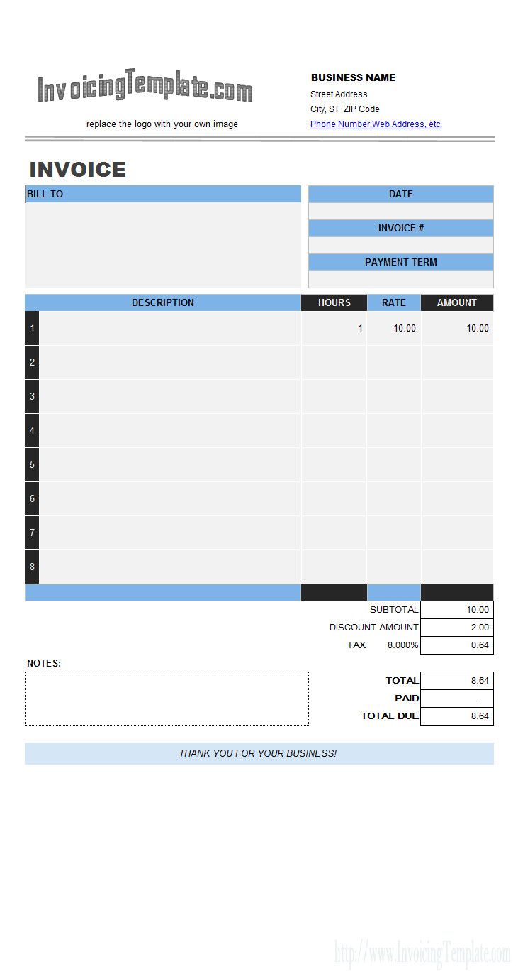 Invoice Template for Excel Labor Invoicing Sample