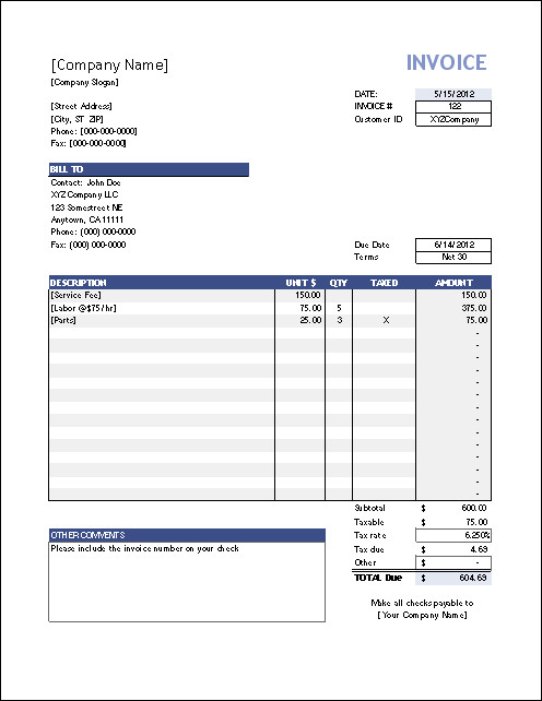 Invoice Template for Excel Vertex42 Invoice assistant Invoice Manager for Excel