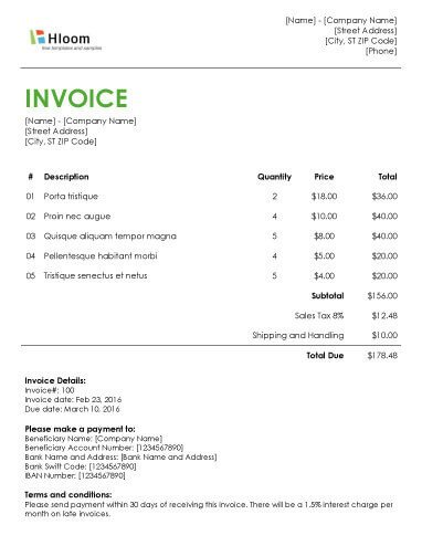 Invoice Template for Word 19 Blank Invoice Templates [microsoft Word]