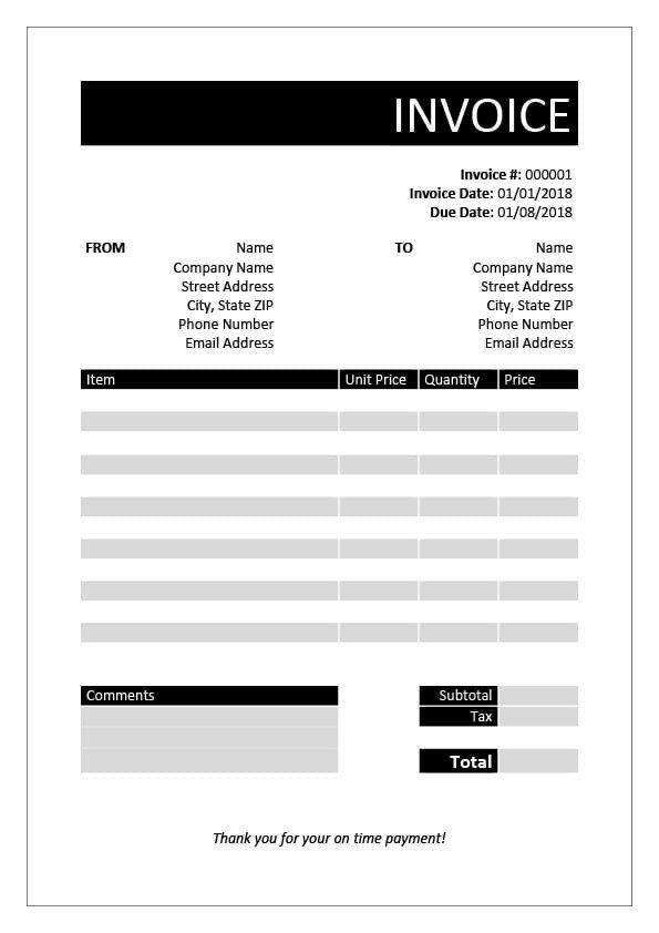 Invoice Template for Word Free Invoice Templates