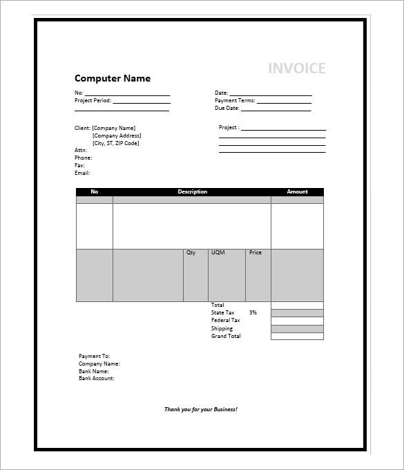 Invoice Template Microsoft Word Microsoft Invoice Template – 36 Free Word Excel Pdf