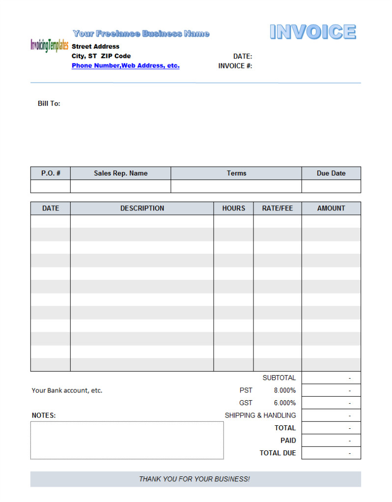 Invoice Template Pdf Fillable Free Fillable Invoice Template 10 Results Found