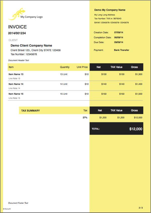 Invoice Templates for Macs Billsonar Invoice