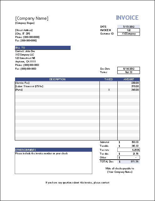 Invoice Templates for Macs Blank Invoice Templates for Mac