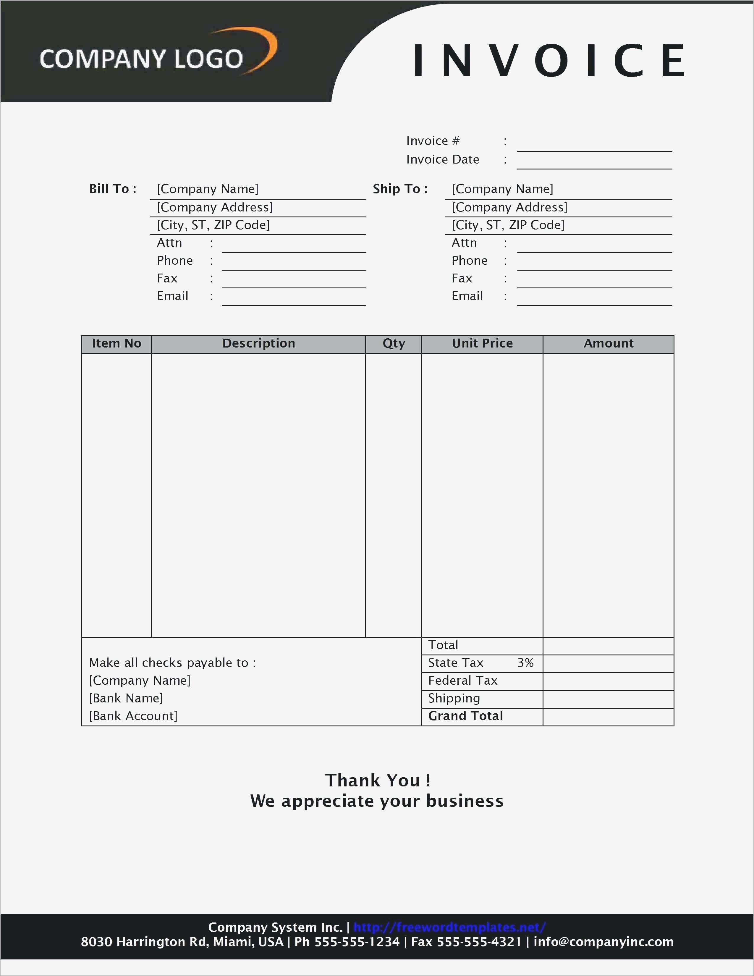 Invoice Templates for Word Basic Invoice Template Uk Excel Freelance Free Printable