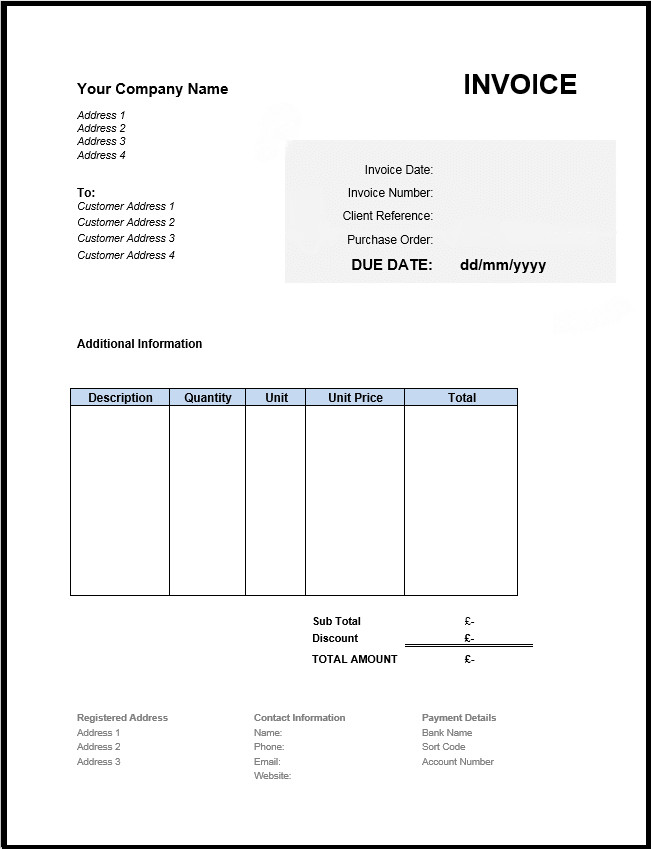 Invoice Templates for Word Free Invoice Template Uk Use Line or Download Excel & Word