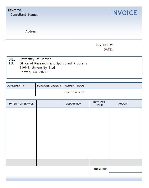 Invoice Templates for Word Sample Consulting Invoice 9 Documents In Word Pdf