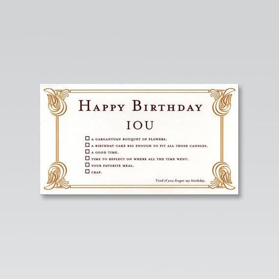 Iou Birthday Certificate Birthday Card From Quiplip S Iou Line 01 Makers by