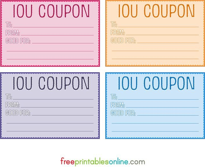 Iou Birthday Certificate Colorful Free Printable Iou Coupons Printables