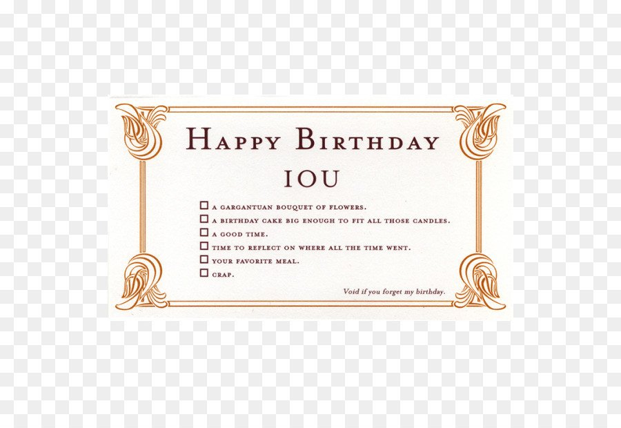 Iou Birthday Certificate Wedding Invitation Greeting & Note Cards Birthday Gift Iou