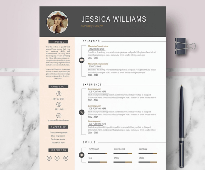 It Resume Template Word 65 Eye Catching Cv Templates for Ms Word