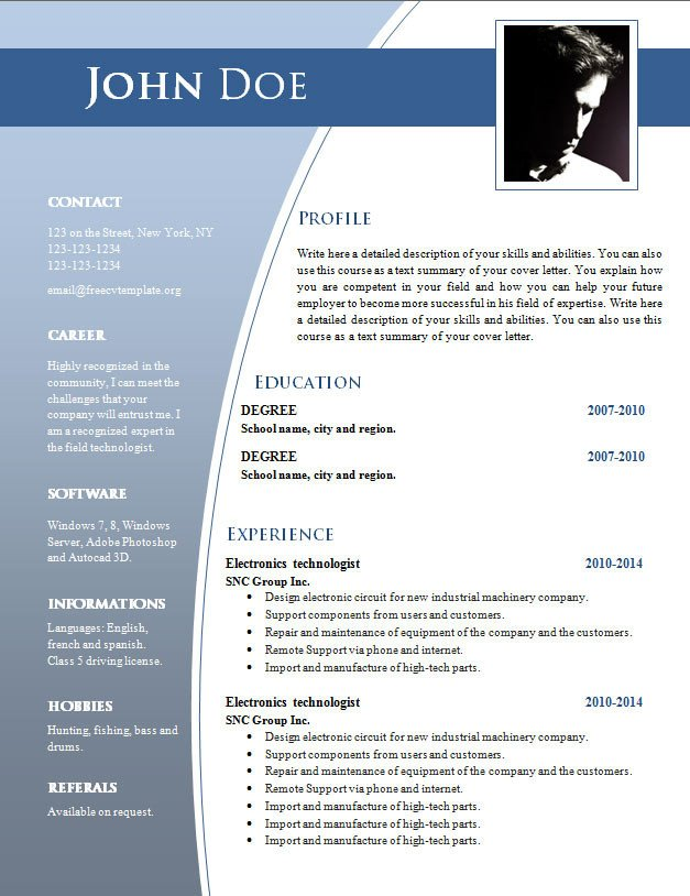 It Resume Template Word Cv Templates for Word Doc 632 – 638 – Free Cv Template