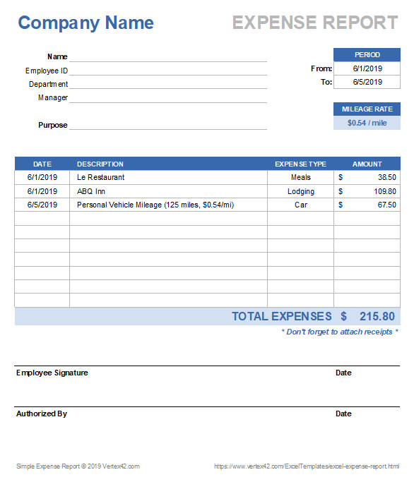 Itemized Fee Worksheet Excel Free Excel Expense Report Template