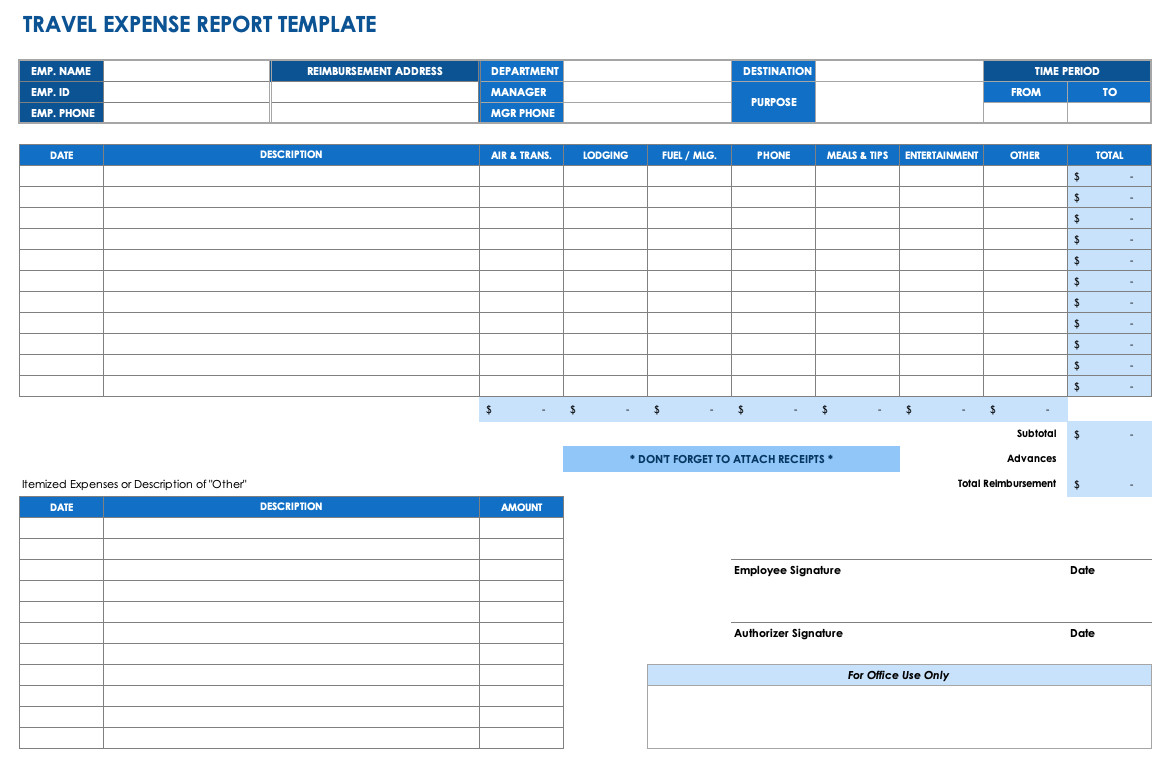 Itemized Fee Worksheet Excel Free Expense Report Templates Smartsheet