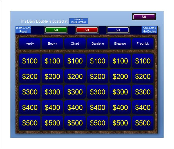 Jeopardy Powerpoint Template with Score Jeopardy Template 13 Free Word Excel Ppt Pdf format