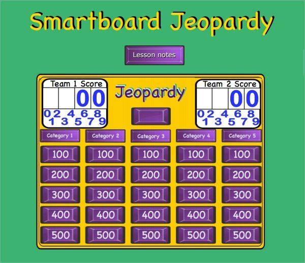 Jeopardy Powerpoint Template with Score Sample Jeopardy 6 Documents In Pdf Ppt