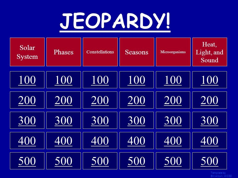 Jeopardy Template with sound Jeopardy Ce to Begin Template by Bill Arcuri