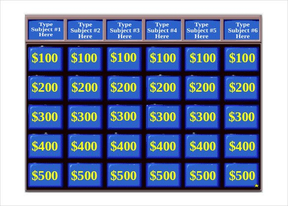 Jeopardy Template with sound Jeopardy Game Template 10 Free Ppt Pptx Documents