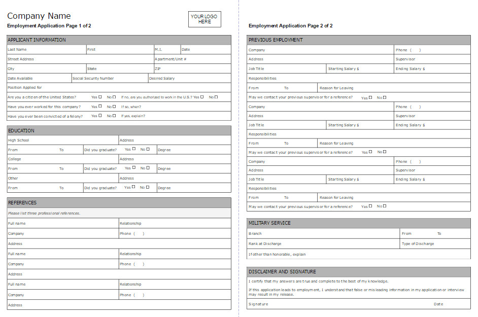 Job Application form Template Employment Application form software Try It Free