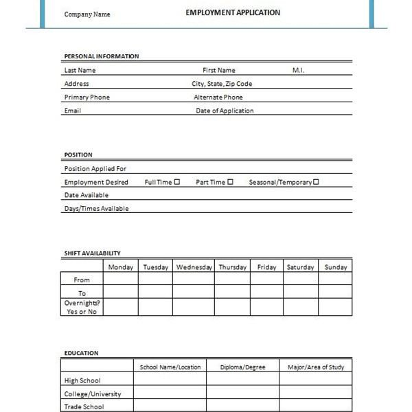 Job Application form Template Free Printable Job Application form Template form Generic