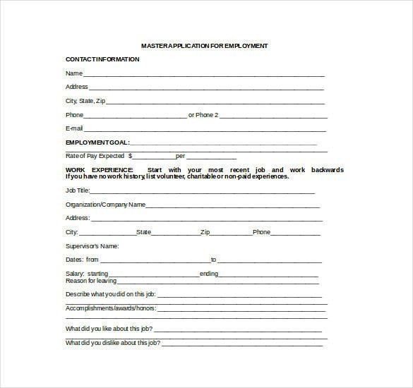Job Application Template Microsoft Word 21 Employment Application Templates Pdf Doc
