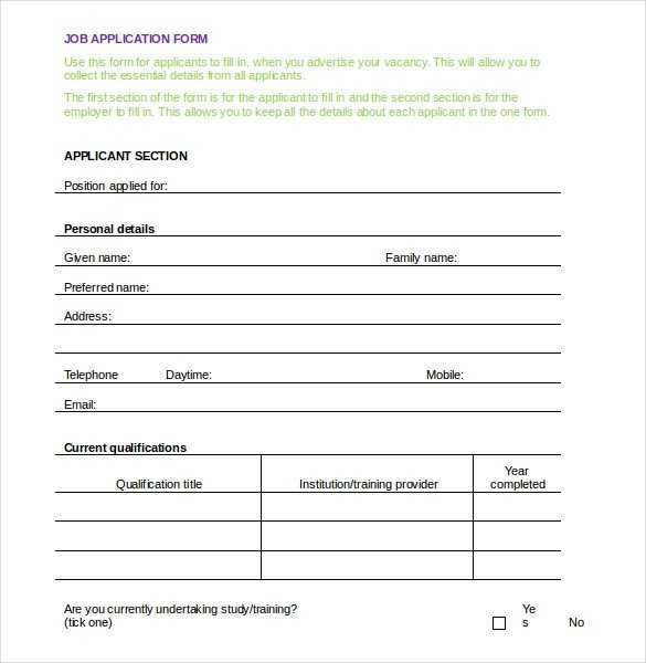 Job Application Template Microsoft Word Employment Application Templates – 10 Free Word Pdf