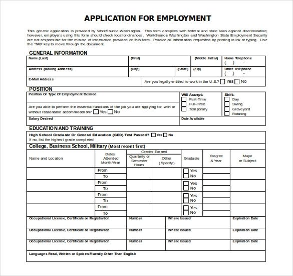 Job Application Template Word Document 16 Microsoft Word 2010 Application Templates Free