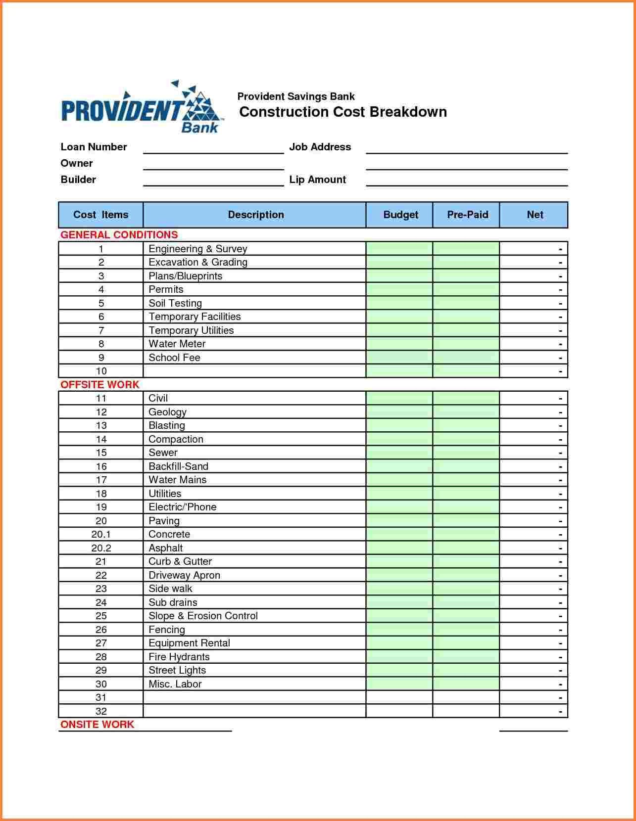Job Cost Sheet Template Excel 10 Construction Cost Spreadsheet Template