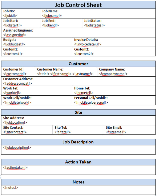 Job Cost Sheet Template Excel 4 Free Job Sheet Templates Word Excel Pdf formats