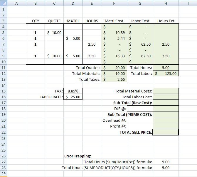Job Cost Sheet Template Excel Building A Simple Estimating Template In Excel Tm Iv