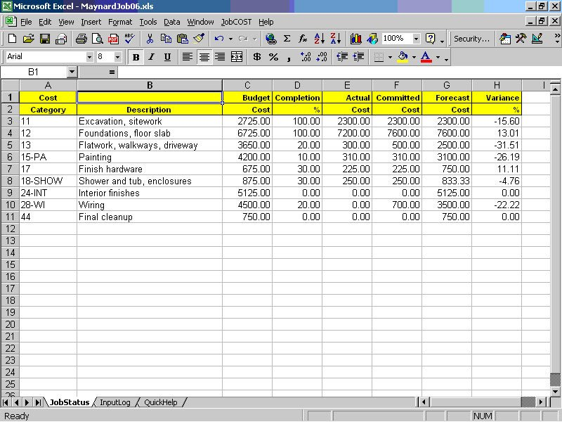 Job Cost Sheet Template Excel Job Cost Controller Spreadsheet for Excel