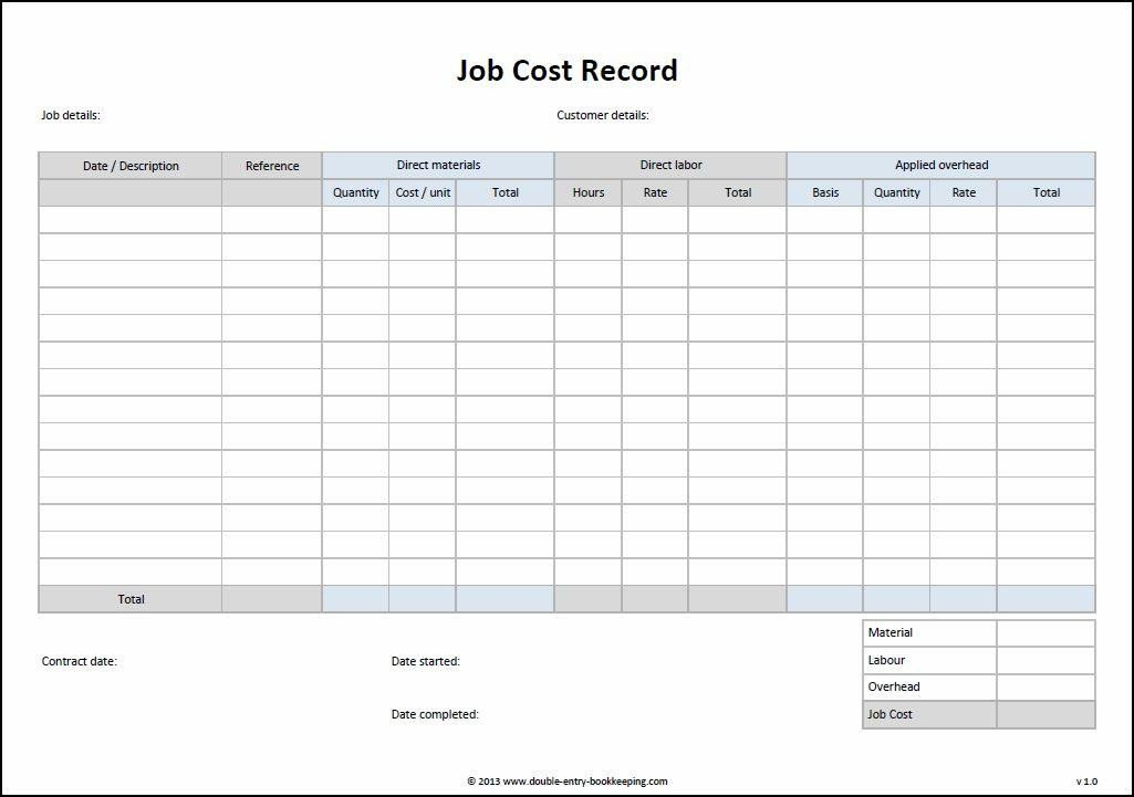 Job Cost Sheet Template Excel Job Cost Record Template