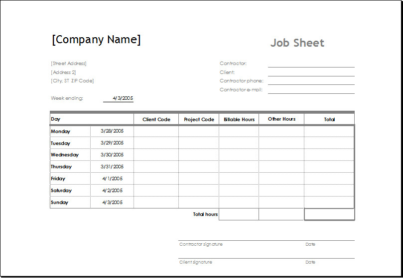Job Cost Sheet Template Excel Sample Job Sheet Template for Ms Excel