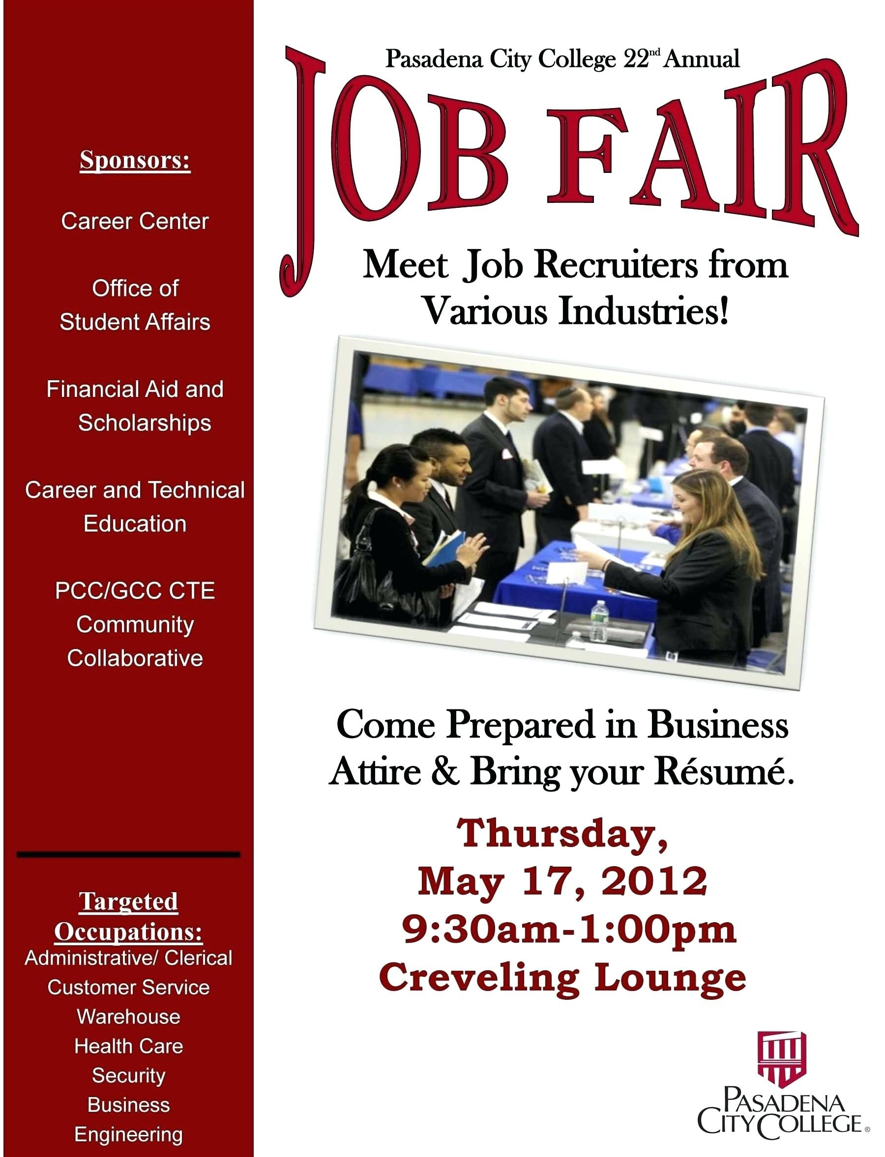 Job Fair Flyer Template Sample Job Fair Flyers