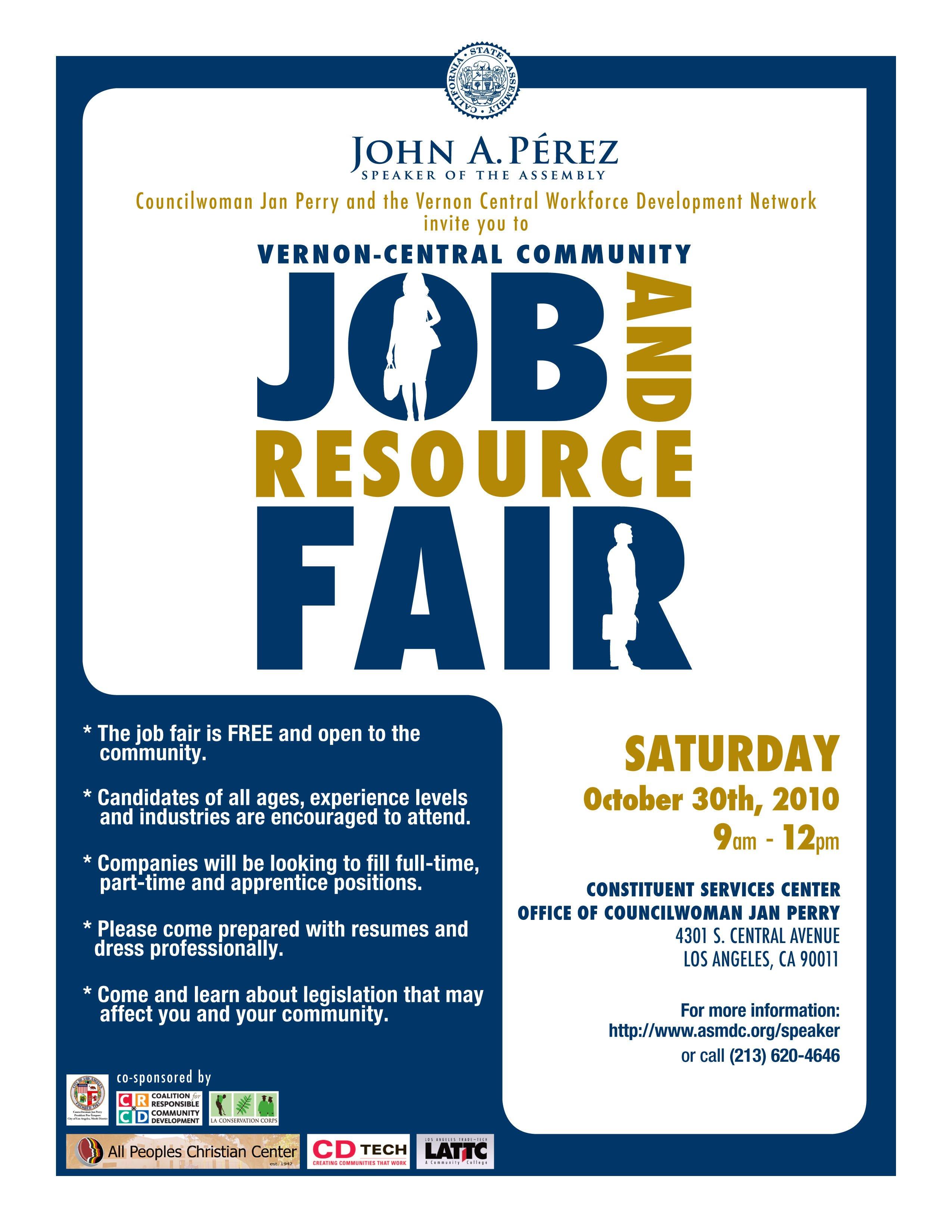 Job Fair Flyer Template Vernon Central Munity Job and Resource Fair Saturday
